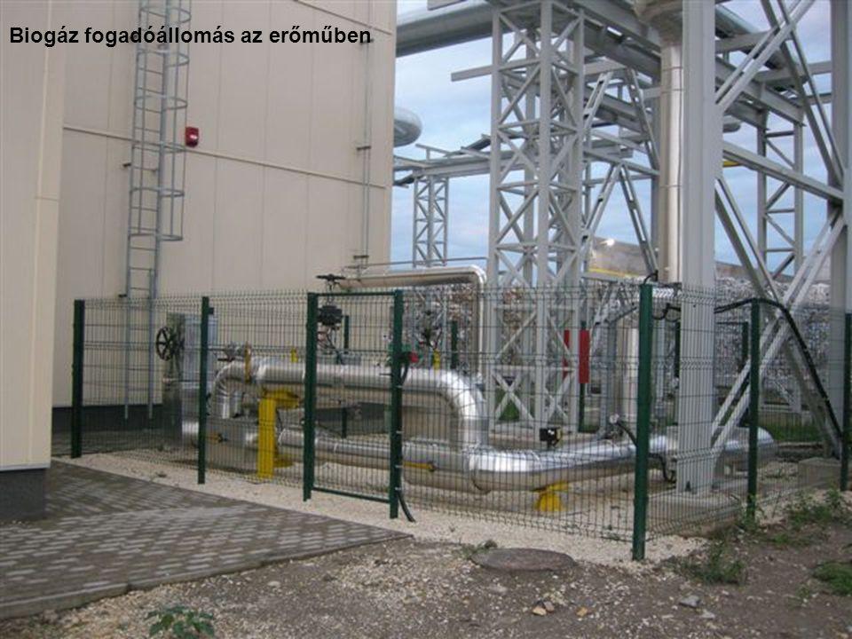 Biogáz fogadóállomás az erőműben