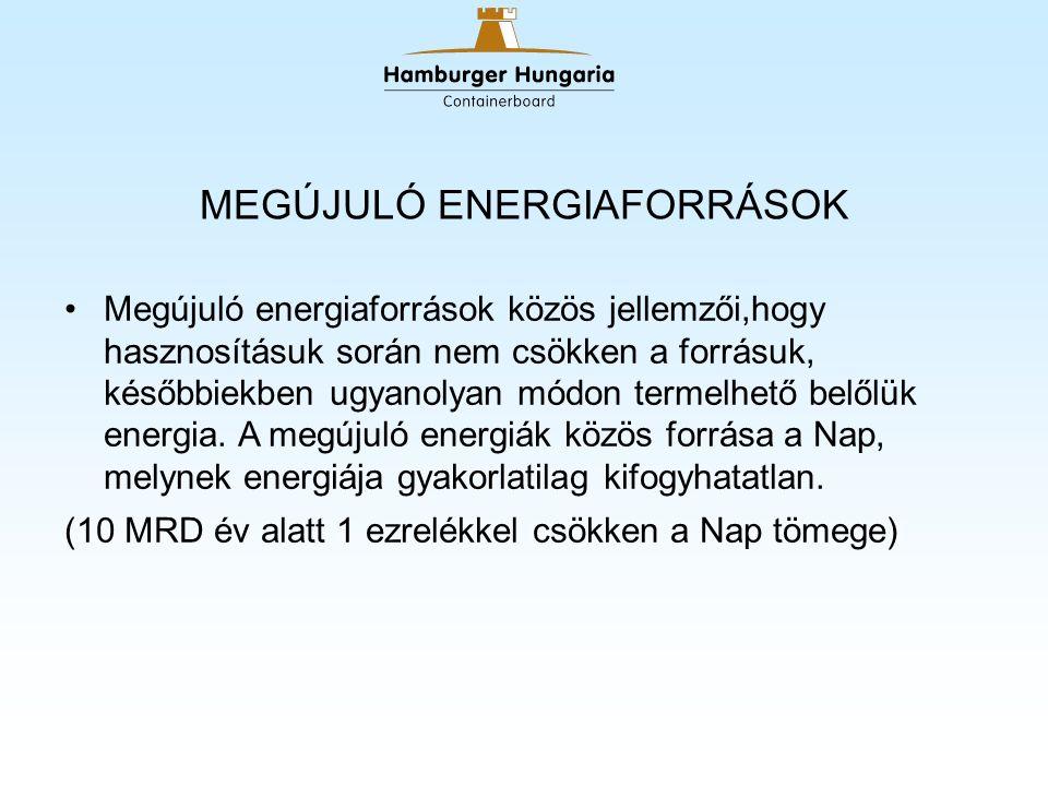 MEGÚJULÓ ENERGIAFORRÁSOK Megújuló energiaforrások közös jellemzői,hogy hasznosításuk során nem csökken a forrásuk, későbbiekben ugyanolyan módon termelhető belőlük energia.
