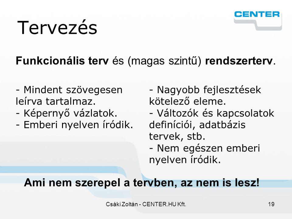 Csáki Zoltán - CENTER.HU Kft.19 Tervezés Funkcionális terv és (magas szintű) rendszerterv.