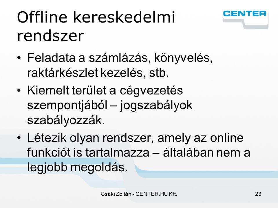 Csáki Zoltán - CENTER.HU Kft.23 Offline kereskedelmi rendszer Feladata a számlázás, könyvelés, raktárkészlet kezelés, stb.