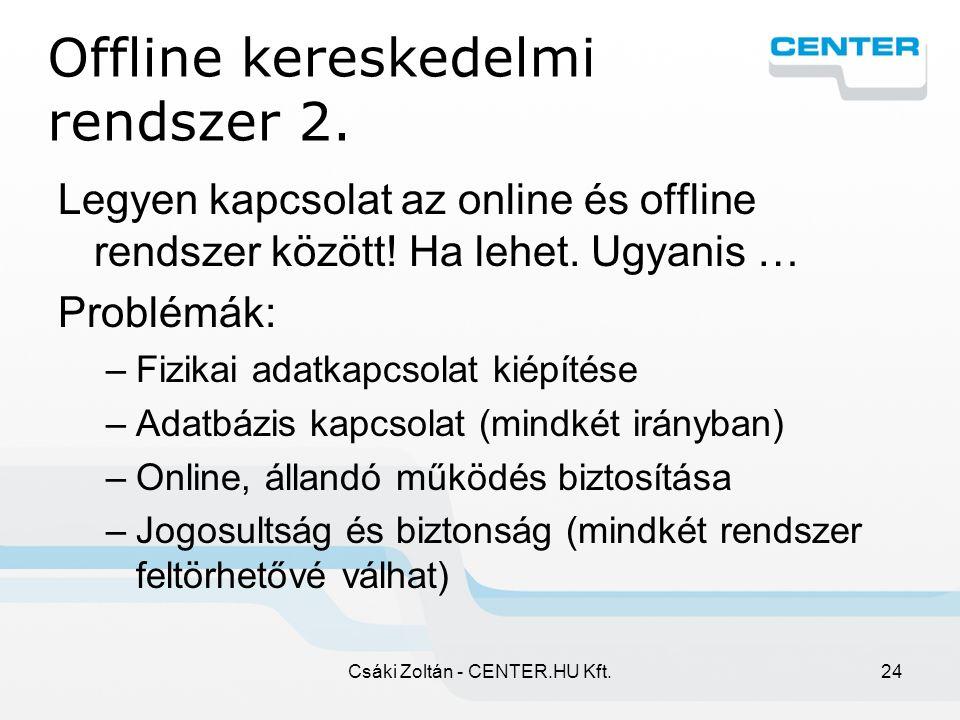 Csáki Zoltán - CENTER.HU Kft.24 Offline kereskedelmi rendszer 2.