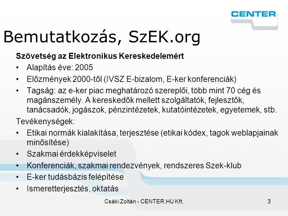 Csáki Zoltán - CENTER.HU Kft.44 CENTER.HU Kosár