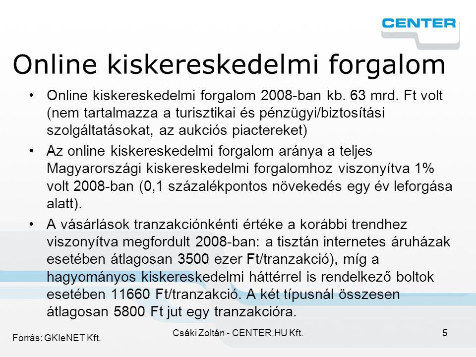 Csáki Zoltán - CENTER.HU Kft.6 Az internet hozzáférés alakulása 2001-2008Q4 (%) 2008 év végén 49,8% Forrás: GKIeNET Kft.