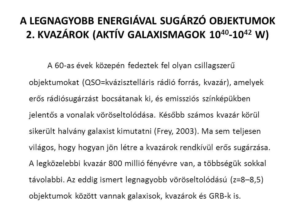 A LEGNAGYOBB ENERGIÁVAL SUGÁRZÓ OBJEKTUMOK 2.