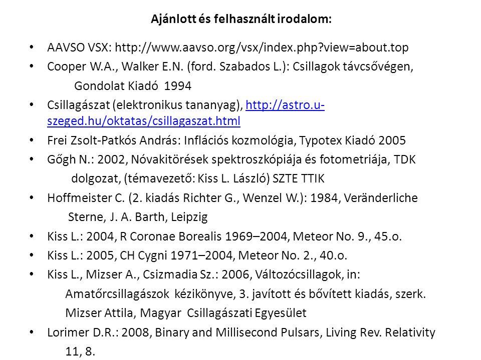 Ajánlott és felhasznált irodalom: AAVSO VSX: http://www.aavso.org/vsx/index.php view=about.top Cooper W.A., Walker E.N.