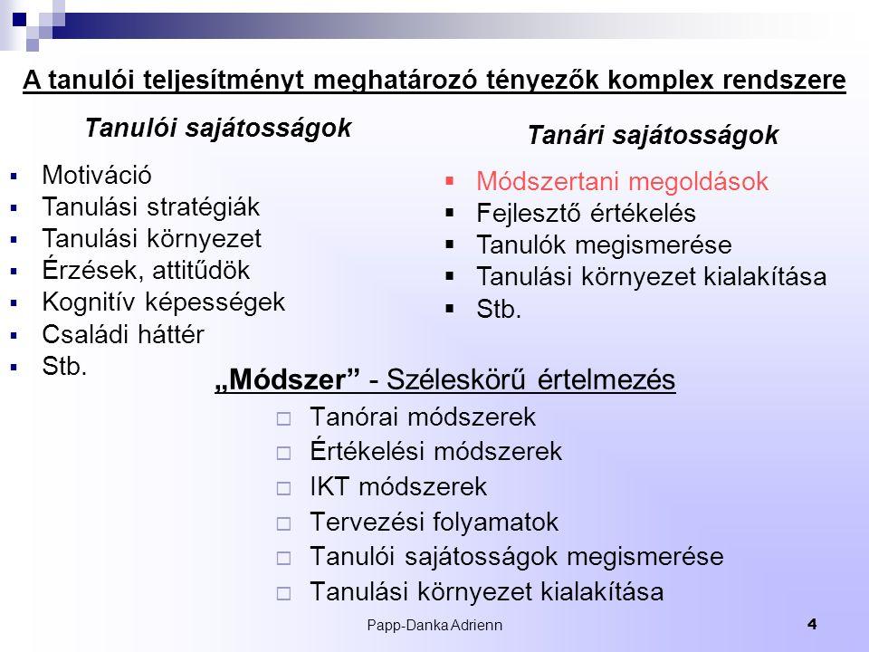 """Papp-Danka Adrienn4 """"Módszer - Széleskörű értelmezés  Tanórai módszerek  Értékelési módszerek  IKT módszerek  Tervezési folyamatok  Tanulói sajátosságok megismerése  Tanulási környezet kialakítása Tanulói sajátosságok  Motiváció  Tanulási stratégiák  Tanulási környezet  Érzések, attitűdök  Kognitív képességek  Családi háttér  Stb."""