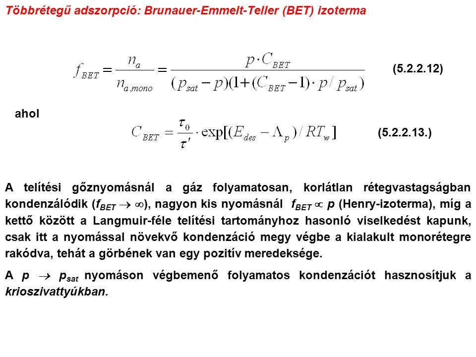 Többrétegű adszorpció: Brunauer-Emmelt-Teller (BET) izoterma ahol A telítési gőznyomásnál a gáz folyamatosan, korlátlan rétegvastagságban kondenzálódik (f BET   ), nagyon kis nyomásnál f BET  p (Henry-izoterma), míg a kettő között a Langmuir-féle telítési tartományhoz hasonló viselkedést kapunk, csak itt a nyomással növekvő kondenzáció megy végbe a kialakult monorétegre rakódva, tehát a görbének van egy pozitív meredeksége.