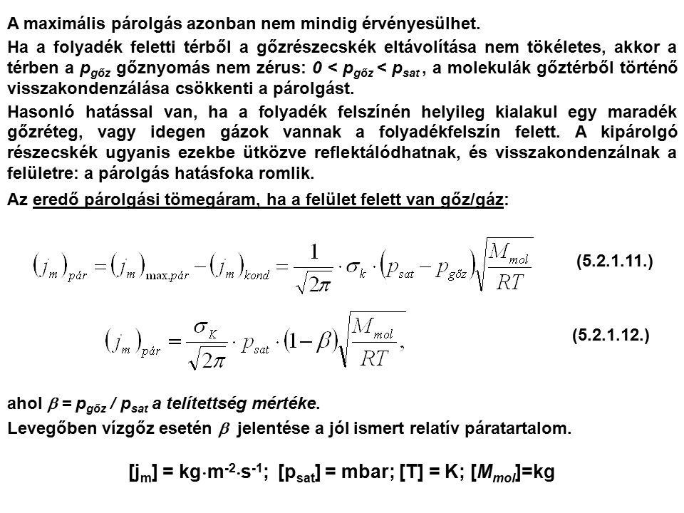 A maximális párolgás azonban nem mindig érvényesülhet. Ha a folyadék feletti térből a gőzrészecskék eltávolítása nem tökéletes, akkor a térben a p gőz