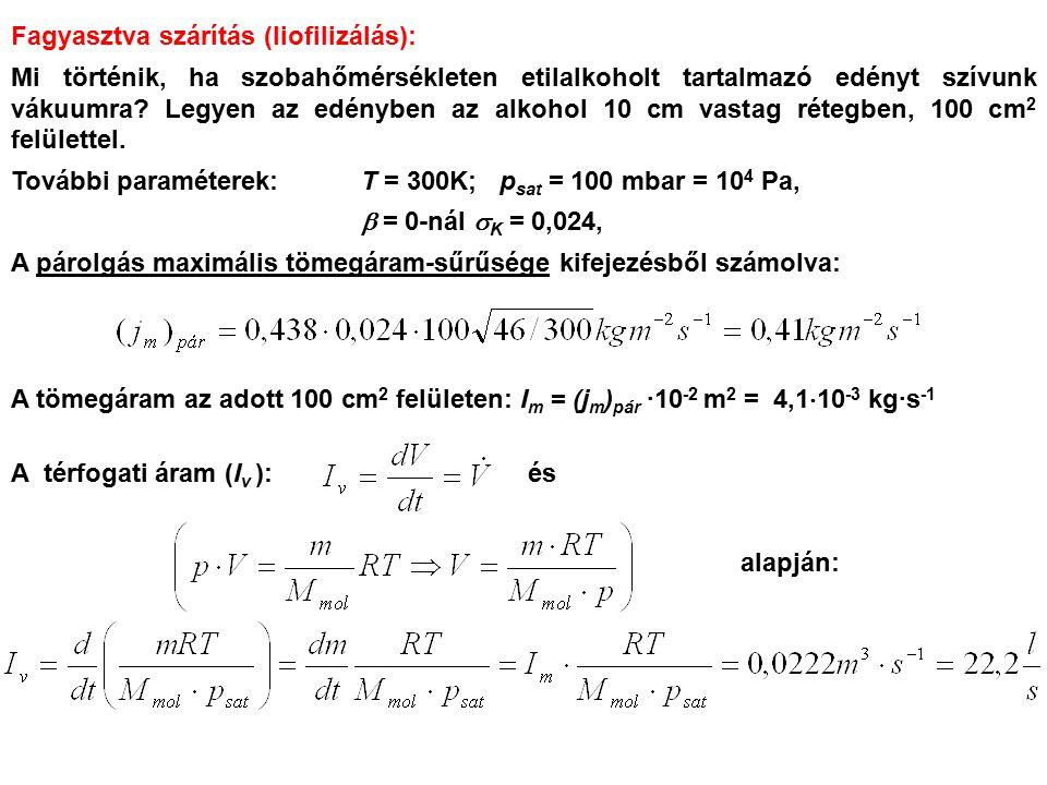 Fagyasztva szárítás (liofilizálás): Mi történik, ha szobahőmérsékleten etilalkoholt tartalmazó edényt szívunk vákuumra? Legyen az edényben az alkohol