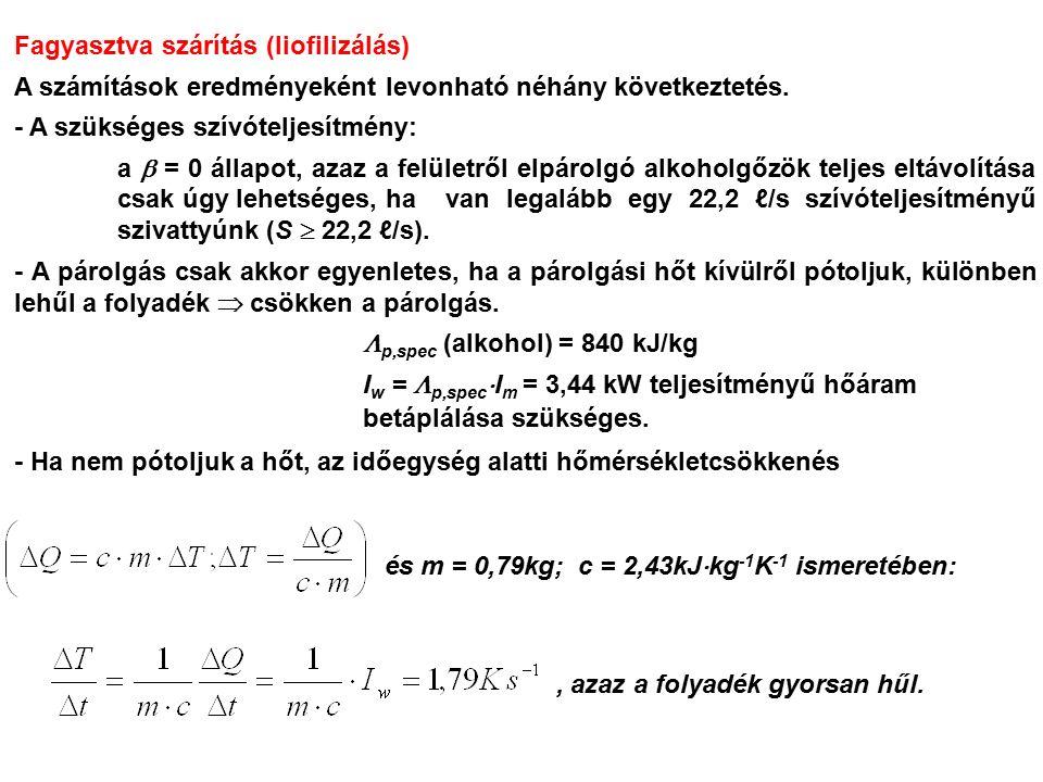 Fagyasztva szárítás (liofilizálás) A számítások eredményeként levonható néhány következtetés. - A szükséges szívóteljesítmény: a  = 0 állapot, azaz a