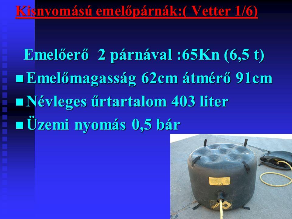 Kisnyomású emelőpárnák:( Vetter 1/6) Emelőerő 2 párnával :65Kn (6,5 t) Emelőerő 2 párnával :65Kn (6,5 t) Emelőmagasság 62cm átmérő 91cm Emelőmagasság 62cm átmérő 91cm Névleges űrtartalom 403 liter Névleges űrtartalom 403 liter Üzemi nyomás 0,5 bár Üzemi nyomás 0,5 bár