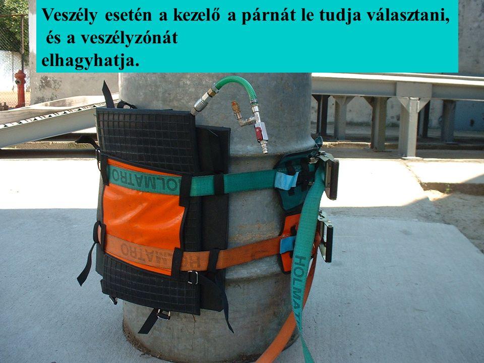 Veszély esetén a kezelő a párnát le tudja választani, és a veszélyzónát elhagyhatja.