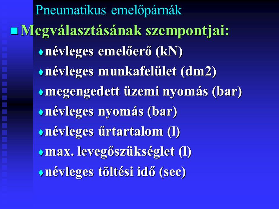 Pneumatikus emelőpárnák Megválasztásának szempontjai: Megválasztásának szempontjai:  névleges emelőerő (kN)  névleges munkafelület (dm2)  megengedett üzemi nyomás (bar)  névleges nyomás (bar)  névleges űrtartalom (l)  max.