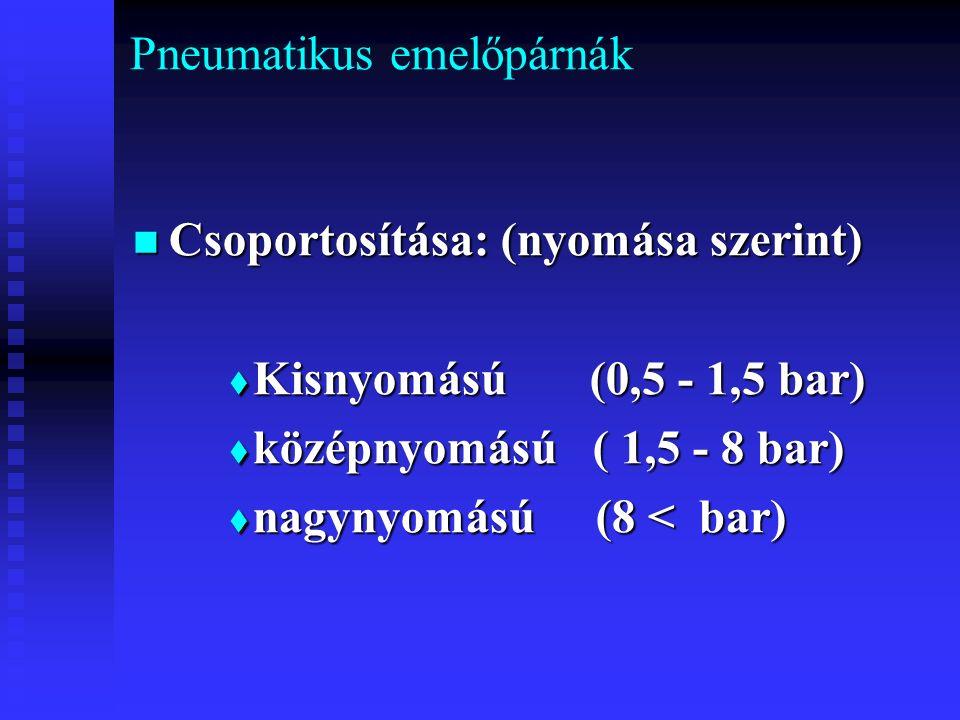 Pneumatikus emelőpárnák Csoportosítása: (nyomása szerint) Csoportosítása: (nyomása szerint)  Kisnyomású (0,5 - 1,5 bar)  középnyomású ( 1,5 - 8 bar)  nagynyomású (8 < bar)