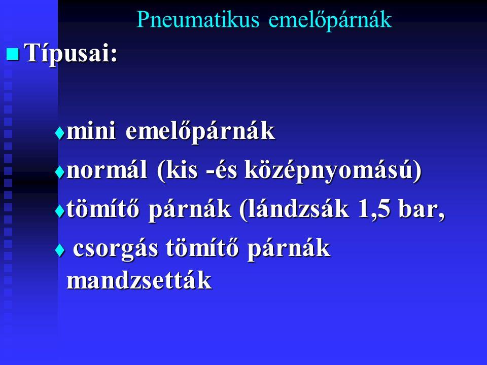 Pneumatikus emelőpárnák Típusai: Típusai:  mini emelőpárnák  normál (kis -és középnyomású)  tömítő párnák (lándzsák 1,5 bar,  csorgás tömítő párná