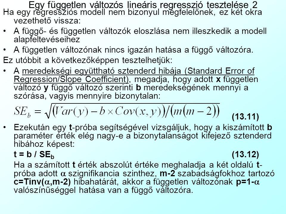 Egy független változós lineáris regresszió tesztelése 2 Ha egy regressziós modell nem bizonyul megfelelőnek, ez két okra vezethető vissza: A függő- és