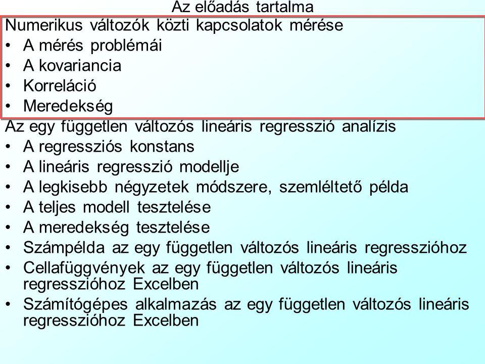 Az előadás tartalma Numerikus változók közti kapcsolatok mérése A mérés problémái A kovariancia Korreláció Meredekség Az egy független változós lineár