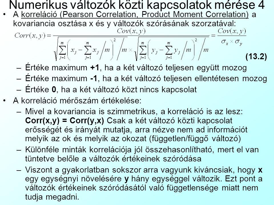 Numerikus változók közti kapcsolatok mérése 4 A korreláció (Pearson Correlation, Product Moment Correlation) a kovariancia osztása x és y változók szó