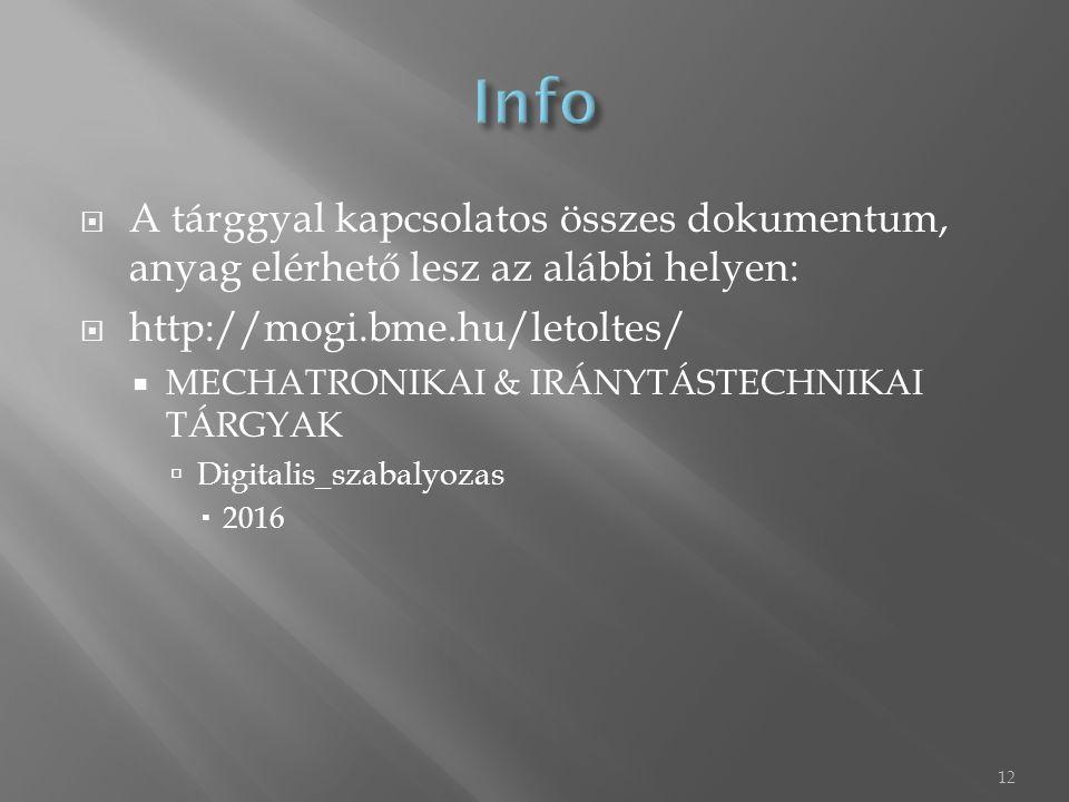  A tárggyal kapcsolatos összes dokumentum, anyag elérhető lesz az alábbi helyen:  http://mogi.bme.hu/letoltes/  MECHATRONIKAI & IRÁNYTÁSTECHNIKAI T