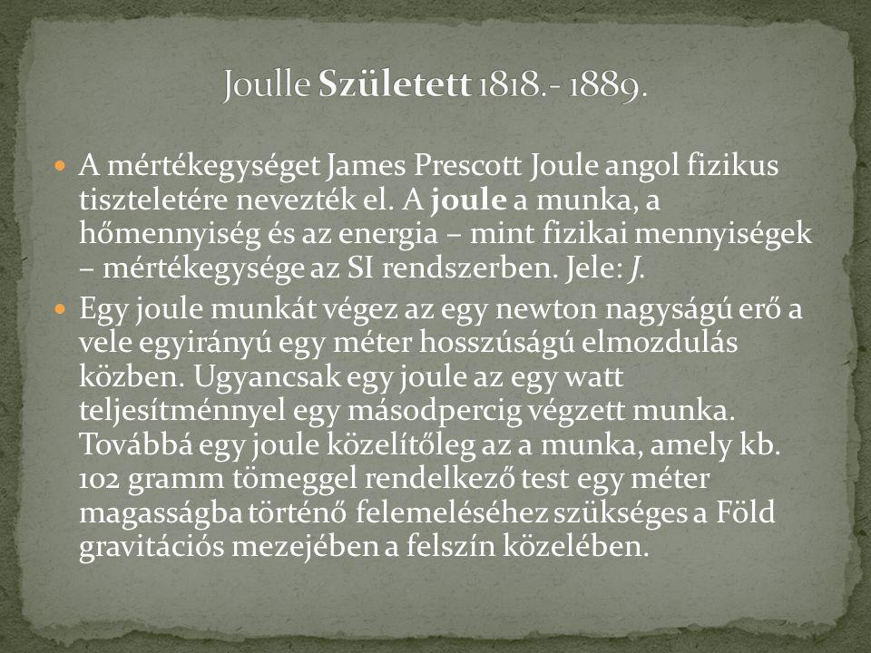 A mértékegységet James Prescott Joule angol fizikus tiszteletére nevezték el. A joule a munka, a hőmennyiség és az energia – mint fizikai mennyiségek