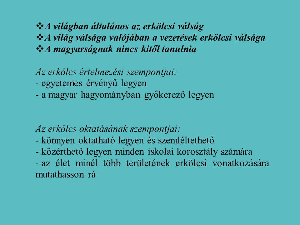  A világban általános az erkölcsi válság  A világ válsága valójában a vezetések erkölcsi válsága  A magyarságnak nincs kitől tanulnia Az erkölcs értelmezési szempontjai: - egyetemes érvényű legyen - a magyar hagyományban gyökerező legyen Az erkölcs oktatásának szempontjai: - könnyen oktatható legyen és szemléltethető - közérthető legyen minden iskolai korosztály számára - az élet minél több területének erkölcsi vonatkozására mutathasson rá