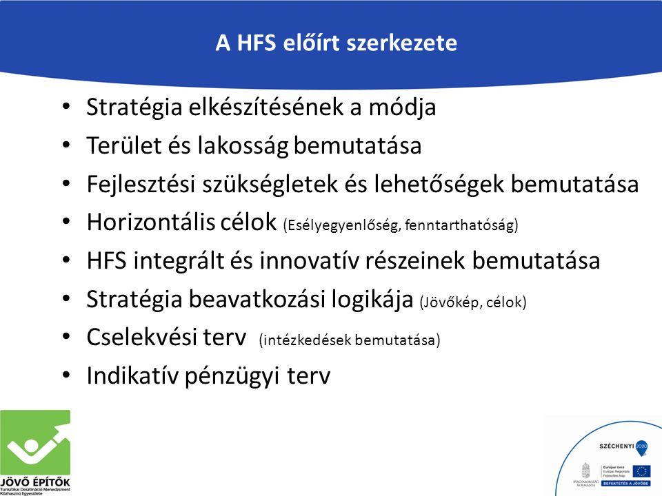 A HFS előírt szerkezete Stratégia elkészítésének a módja Terület és lakosság bemutatása Fejlesztési szükségletek és lehetőségek bemutatása Horizontális célok (Esélyegyenlőség, fenntarthatóság) HFS integrált és innovatív részeinek bemutatása Stratégia beavatkozási logikája (Jövőkép, célok) Cselekvési terv (intézkedések bemutatása) Indikatív pénzügyi terv