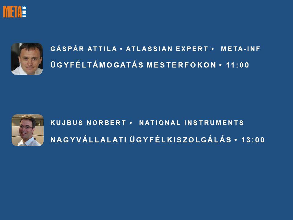 GÁSPÁR ATTILA ATLASSIAN EXPERT META-INF ÜGYFÉLTÁMOGATÁS MESTERFOKON 11:00 KUJBUS NORBERT NATIONAL INSTRUMENTS NAGYVÁLLALATI ÜGYFÉLKISZOLGÁLÁS 13:00