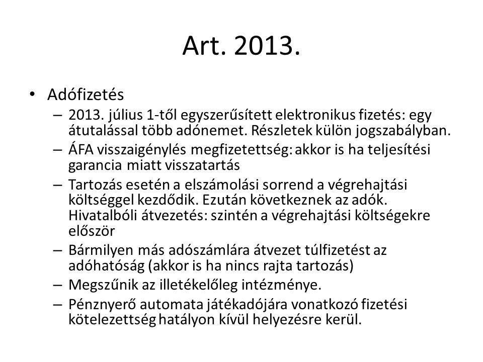 Art. 2013. Adófizetés – 2013.