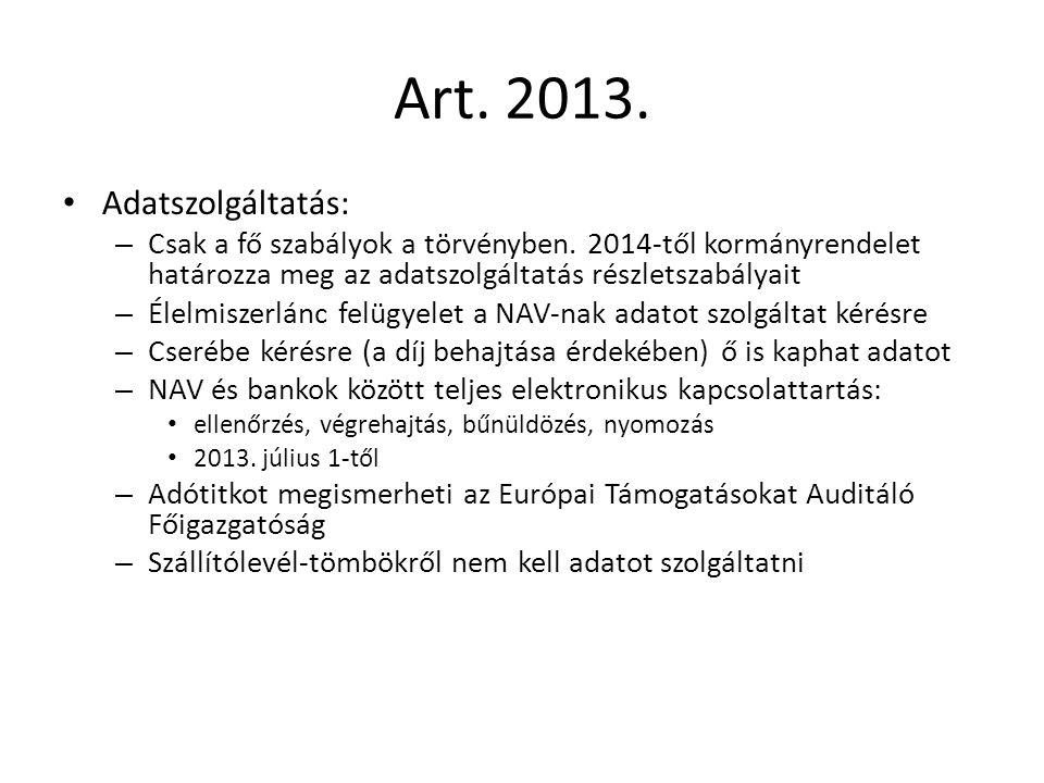 Art. 2013. Adatszolgáltatás: – Csak a fő szabályok a törvényben.