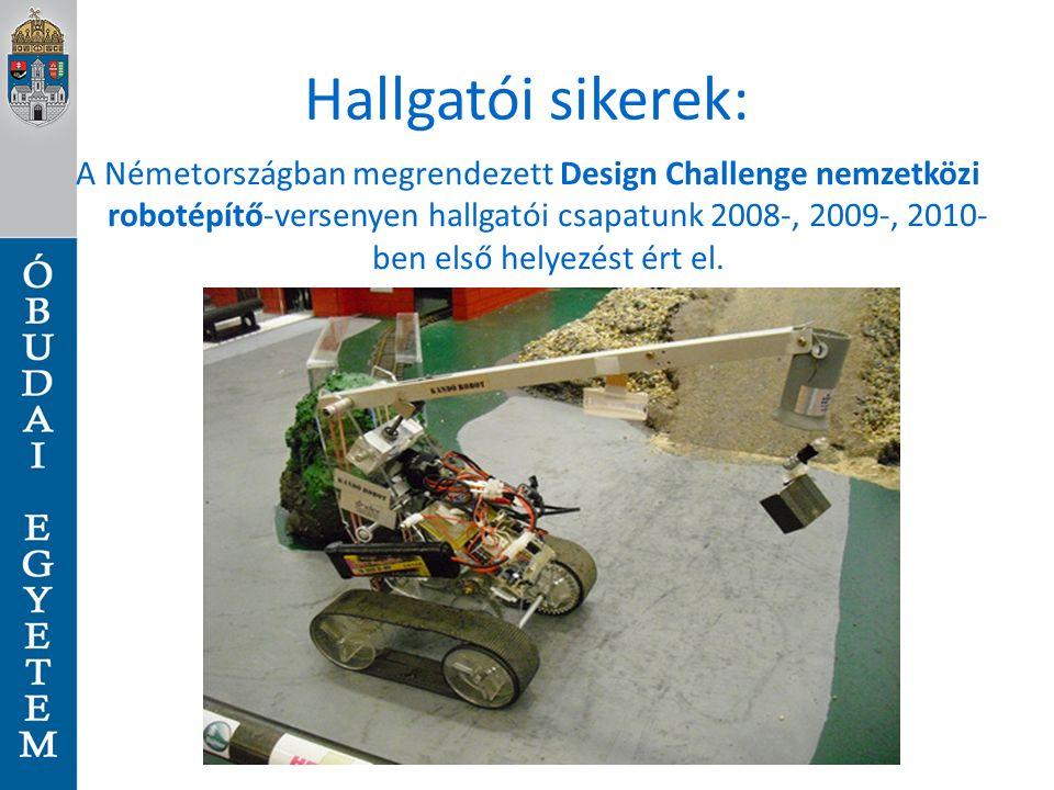 Hallgatói sikerek: A Németországban megrendezett Design Challenge nemzetközi robotépítő-versenyen hallgatói csapatunk 2008-, 2009-, 2010- ben első helyezést ért el.