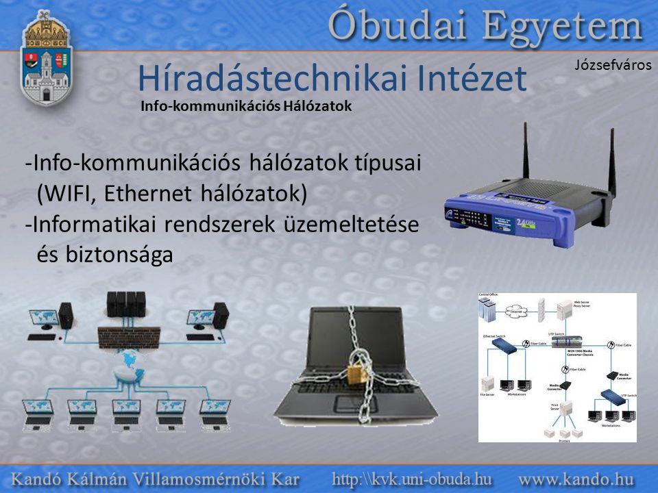 Híradástechnikai Intézet Józsefváros Info-kommunikációs Hálózatok -Info-kommunikációs hálózatok típusai (WIFI, Ethernet hálózatok) -Informatikai rendszerek üzemeltetése és biztonsága