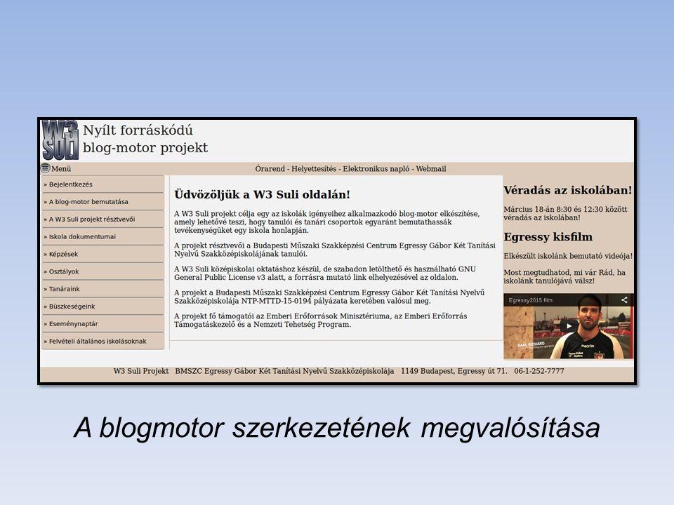 A blogmotor szerkezetének megvalósítása