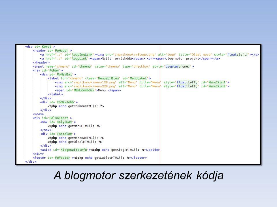 A blogmotor szerkezetének kódja