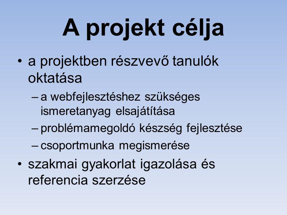 A projekt célja a projektben részvevő tanulók oktatása –a webfejlesztéshez szükséges ismeretanyag elsajátítása –problémamegoldó készség fejlesztése –c