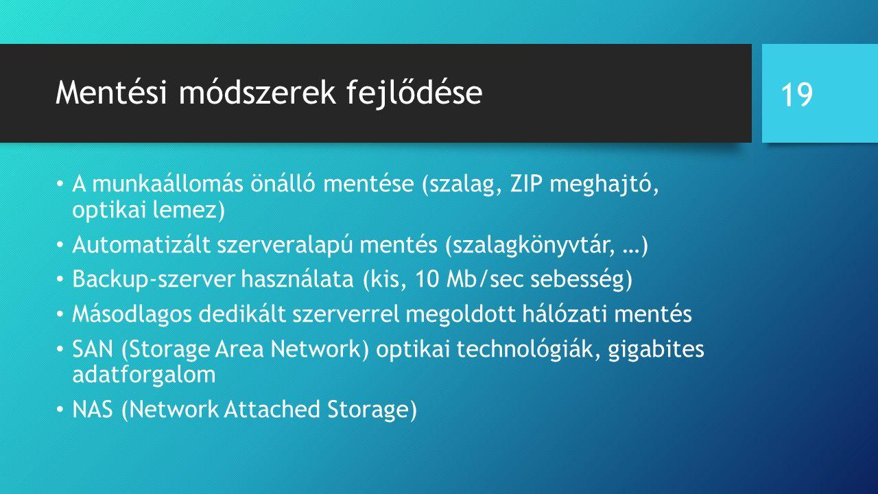 Mentési módszerek fejlődése A munkaállomás önálló mentése (szalag, ZIP meghajtó, optikai lemez) Automatizált szerveralapú mentés (szalagkönyvtár, …) Backup-szerver használata (kis, 10 Mb/sec sebesség) Másodlagos dedikált szerverrel megoldott hálózati mentés SAN (Storage Area Network) optikai technológiák, gigabites adatforgalom NAS (Network Attached Storage) 19
