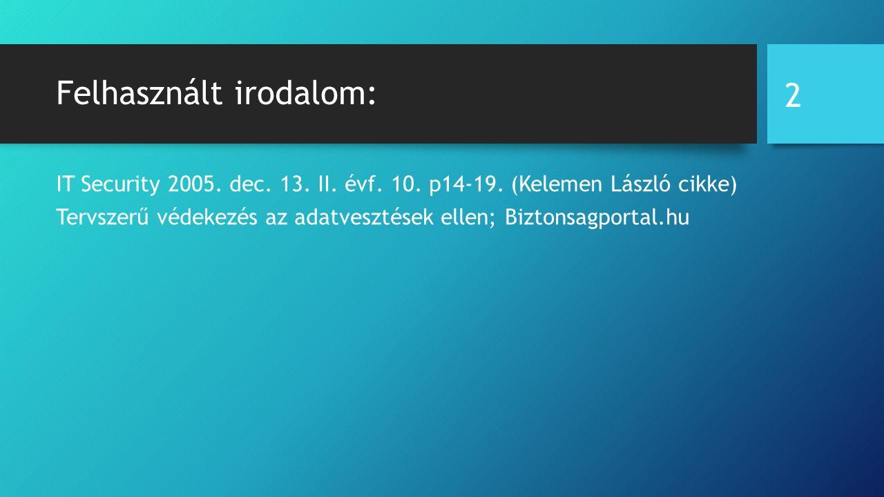 Felhasznált irodalom: IT Security 2005. dec. 13.