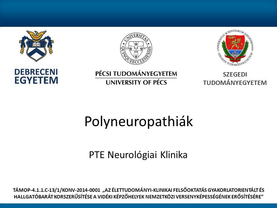 """Polyneuropathiák PTE Neurológiai Klinika SZEGEDI TUDOMÁNYEGYETEM TÁMOP-4.1.1.C-13/1/KONV-2014-0001 """"AZ ÉLETTUDOMÁNYI-KLINIKAI FELSŐOKTATÁS GYAKORLATORIENTÁLT ÉS HALLGATÓBARÁT KORSZERŰSÍTÉSE A VIDÉKI KÉPZŐHELYEK NEMZETKÖZI VERSENYKÉPESSÉGÉNEK ERŐSÍTÉSÉRE"""