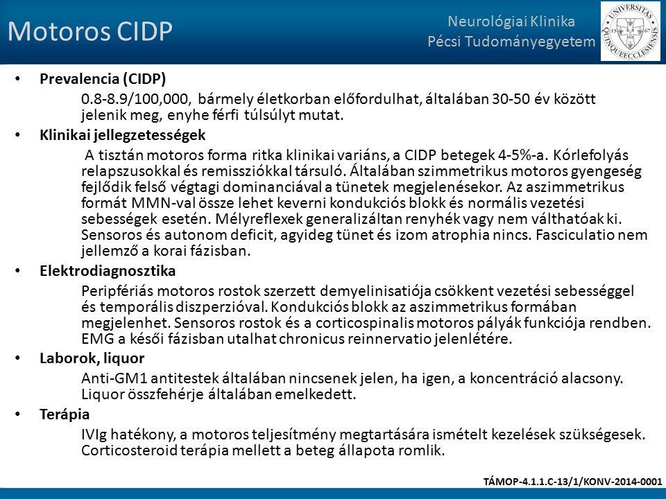 Motoros CIDP Prevalencia (CIDP) 0.8-8.9/100,000, bármely életkorban előfordulhat, általában 30-50 év között jelenik meg, enyhe férfi túlsúlyt mutat.