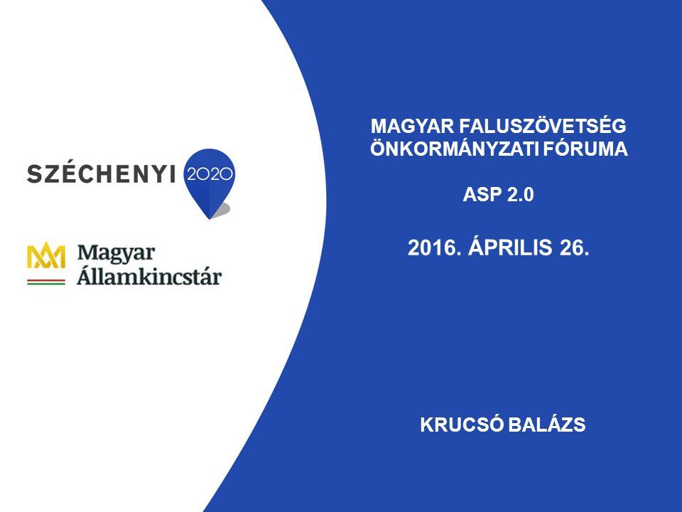 MAGYAR FALUSZÖVETSÉG ÖNKORMÁNYZATI FÓRUMA ASP 2.0 2016. ÁPRILIS 26. KRUCSÓ BALÁZS