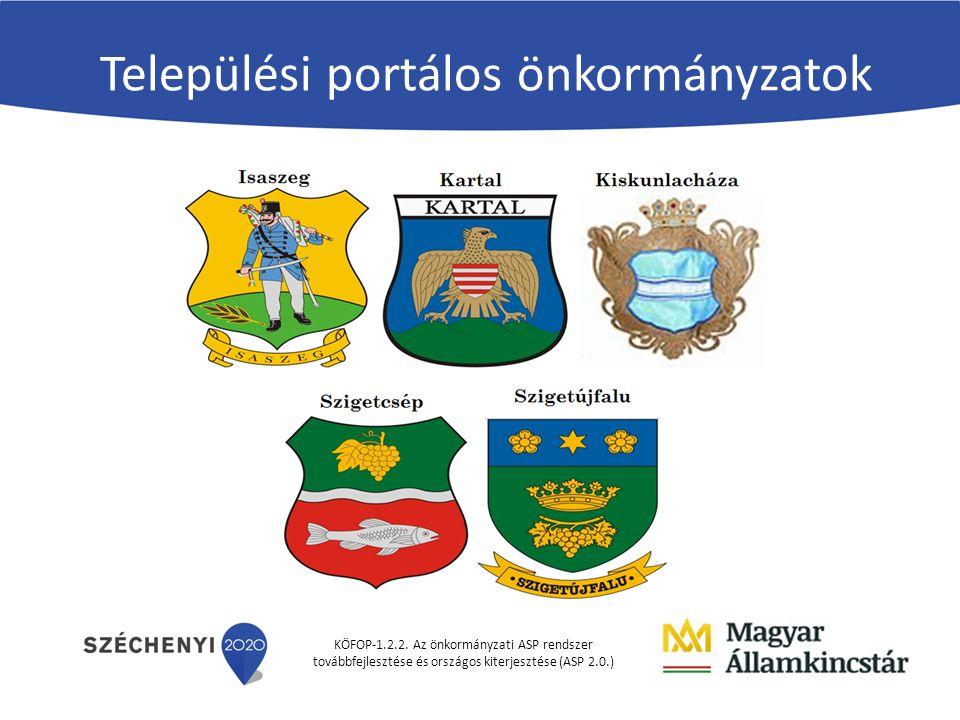 KÖFOP-1.2.2. Az önkormányzati ASP rendszer továbbfejlesztése és országos kiterjesztése (ASP 2.0.) Települési portálos önkormányzatok
