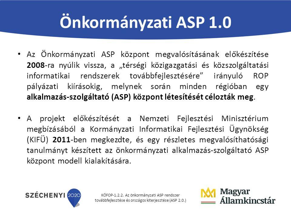KÖFOP-1.2.2. Az önkormányzati ASP rendszer továbbfejlesztése és országos kiterjesztése (ASP 2.0.) Önkormányzati ASP 1.0 Az Önkormányzati ASP központ m