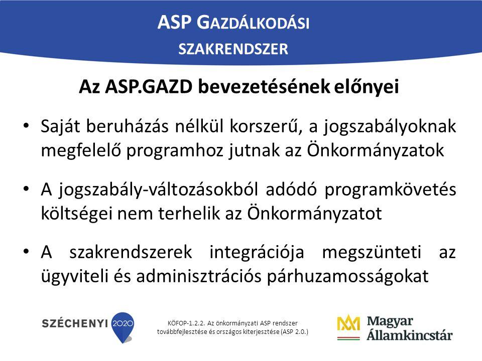 KÖFOP-1.2.2. Az önkormányzati ASP rendszer továbbfejlesztése és országos kiterjesztése (ASP 2.0.) Az ASP.GAZD bevezetésének előnyei Saját beruházás né