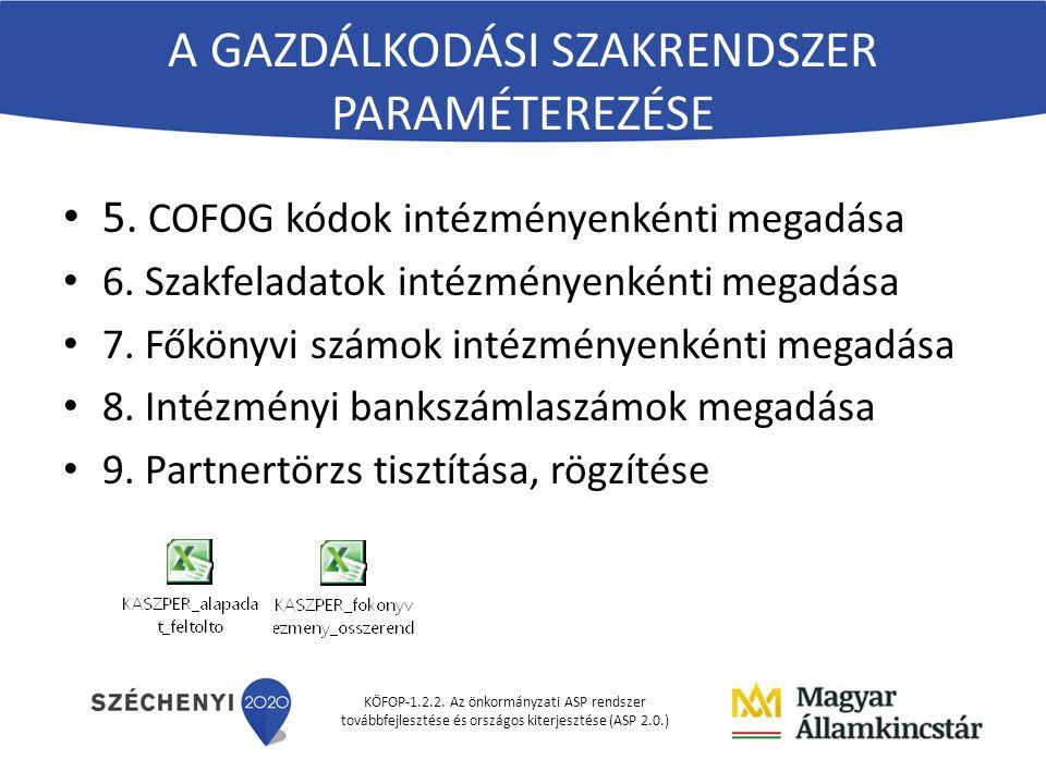 KÖFOP-1.2.2. Az önkormányzati ASP rendszer továbbfejlesztése és országos kiterjesztése (ASP 2.0.) 5. COFOG kódok intézményenkénti megadása 6. Szakfela
