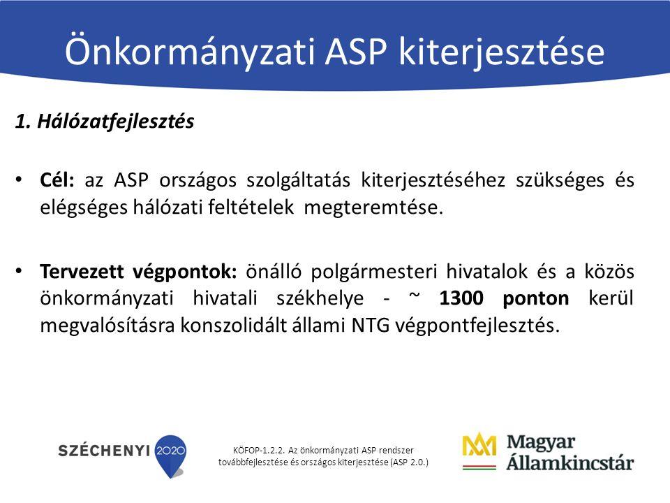 KÖFOP-1.2.2. Az önkormányzati ASP rendszer továbbfejlesztése és országos kiterjesztése (ASP 2.0.) Önkormányzati ASP kiterjesztése 1. Hálózatfejlesztés