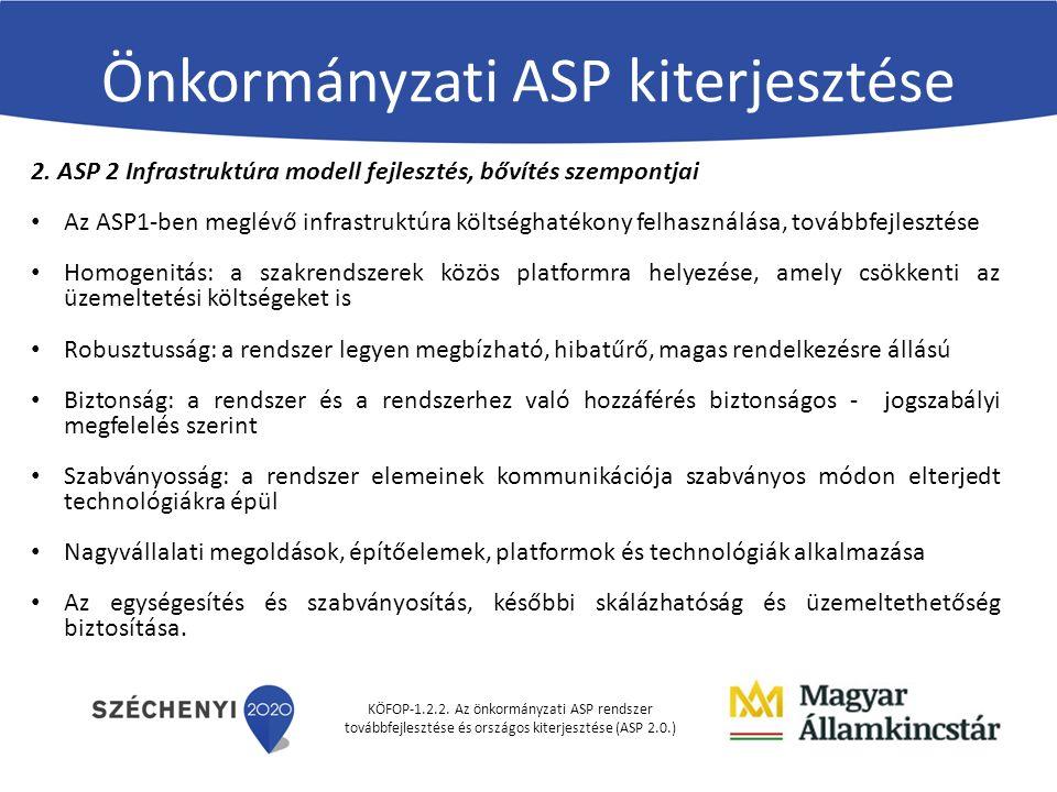 KÖFOP-1.2.2. Az önkormányzati ASP rendszer továbbfejlesztése és országos kiterjesztése (ASP 2.0.) Önkormányzati ASP kiterjesztése 2. ASP 2 Infrastrukt