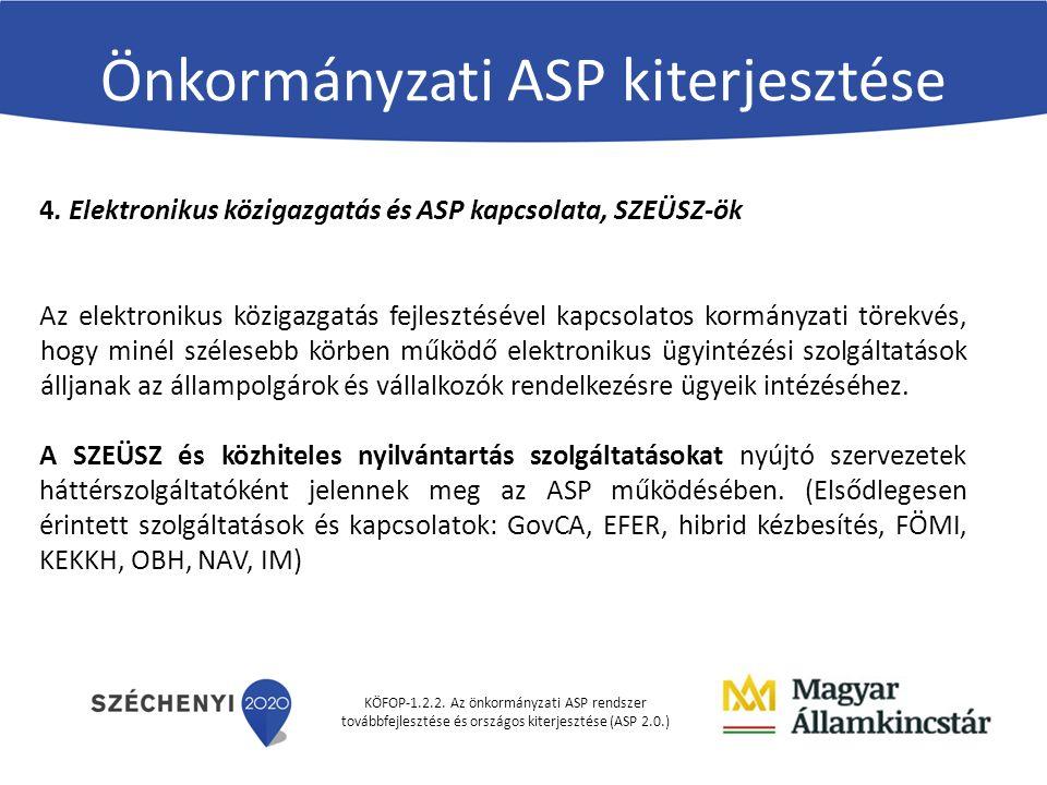 KÖFOP-1.2.2. Az önkormányzati ASP rendszer továbbfejlesztése és országos kiterjesztése (ASP 2.0.) Önkormányzati ASP kiterjesztése 4. Elektronikus közi