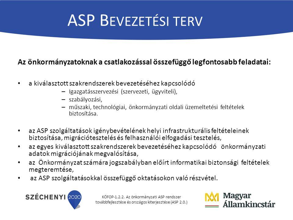 KÖFOP-1.2.2. Az önkormányzati ASP rendszer továbbfejlesztése és országos kiterjesztése (ASP 2.0.) ASP B EVEZETÉSI TERV Az önkormányzatoknak a csatlako