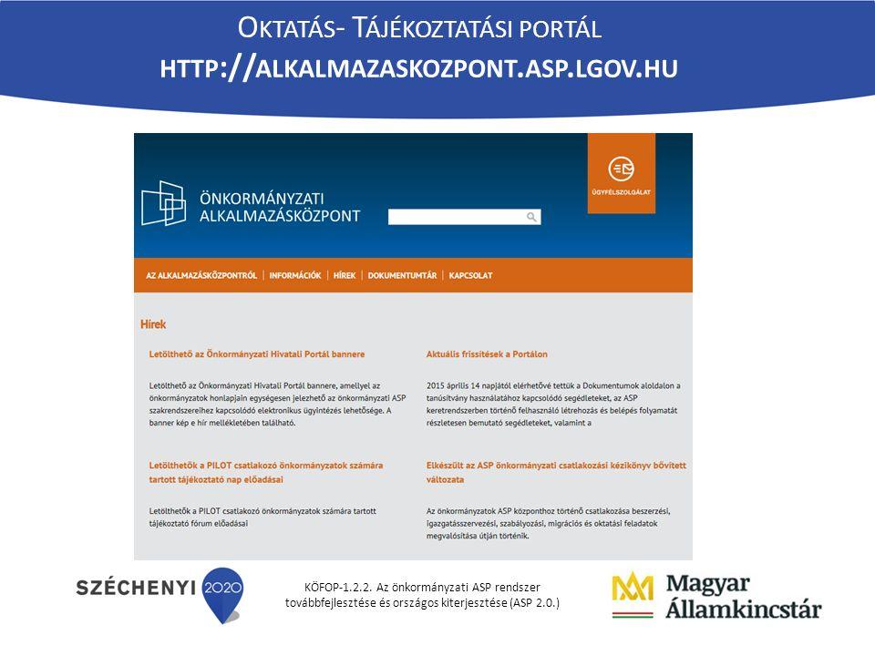 KÖFOP-1.2.2. Az önkormányzati ASP rendszer továbbfejlesztése és országos kiterjesztése (ASP 2.0.) O KTATÁS - T ÁJÉKOZTATÁSI PORTÁL HTTP :// ALKALMAZAS