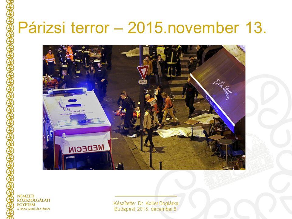 Készítette: Dr. Koller Boglárka Budapest, 2015. december 8. Párizsi terror – 2015.november 13.