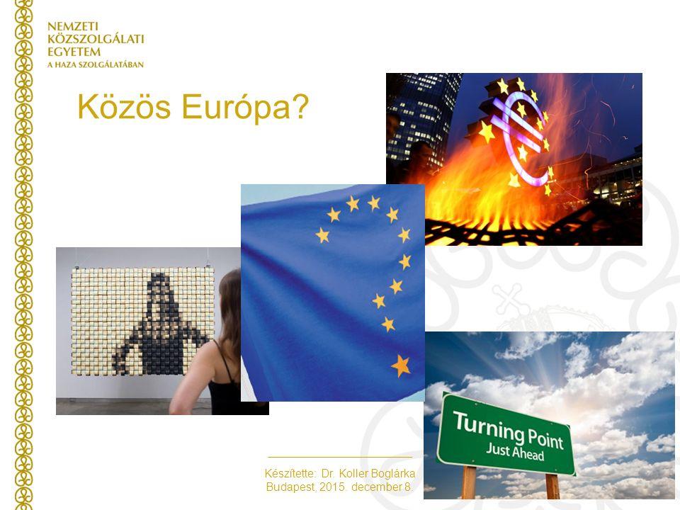 Készítette: Dr. Koller Boglárka Budapest, 2015. december 8. Közös Európa